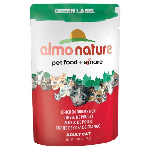 Cat-Food-Almo-Green-Label-Pouches-Chicken-Drumstick-24-55GM